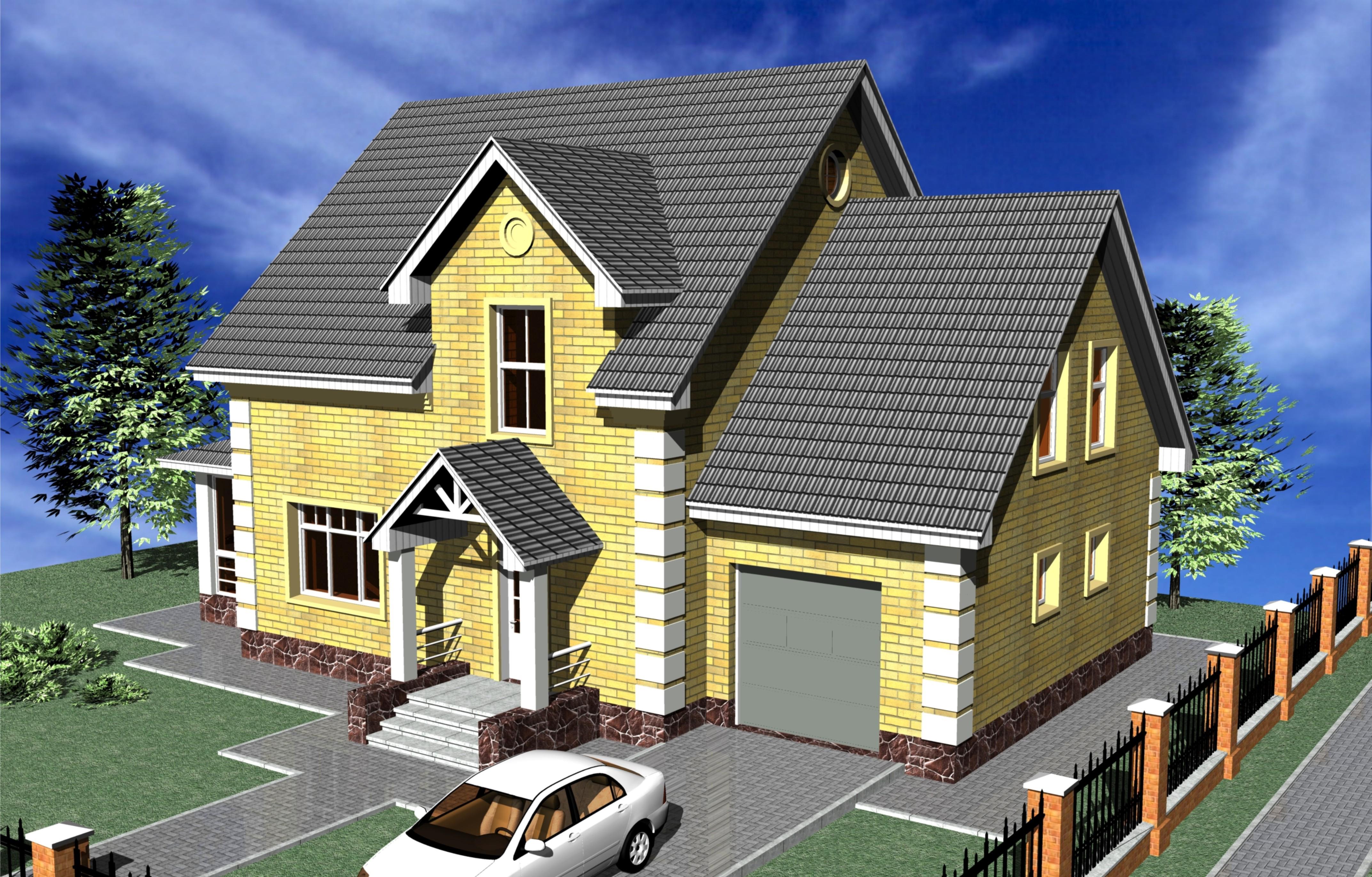 Фото домов с мансардной крышей и гаражом